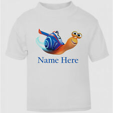 NEW Turbo Snail Personalised T-Shirt Boys Girls Kids age size top gift cute cool