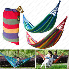 Portable Outdoor Cotton Rope Canvas Swing Fabric Camp Hanging Bed Hammock LOT