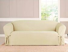 KASHI MICRO-SUEDE SLIPCOVER SOFA LOVESEAT CHAIR FURNITURE COVER, BEIGE