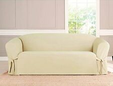 KASHI MICRO SUEDE SLIPCOVER SOFA LOVESEAT CHAIR FURNITURE COUCH COVER, BEIGE