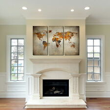 Rustic World Map Canvas Art - Set of 3 giclee print Triptych wall art canvas