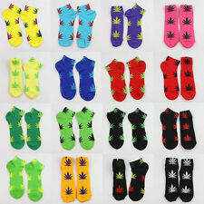 Men Women Healthy Marijuana Weed Maple Leaf Cotton Short Ankles Sports Socks