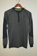 Mens UNDER ARMOUR Catalyst GRAY Fitted Long Sleeve Henley/Shirt-ColdGear $65