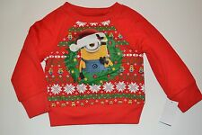Despicable Me Minion Holiday Christmas Long Sleeve T-Shirt Tee Licensed DISNEY