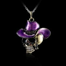 Retro Bronze Hiphop Men Cowboy-hat Skull Enamel Pendant Necklace Charm Jewelry