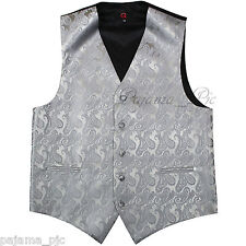 New Men's SILVER XS to 6XL Paisley Tuxedo Suit Dress Vest Waistcoat Wedding Prom