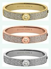 NEW Michael Kors FULTON Crystal Pave Logo Bangle Bracelet Rose Gold or Gold