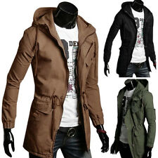Uomo Slim Fit Giacca Cappotto Giubbotto Inverno Lungo Trench Coat Army Jacket