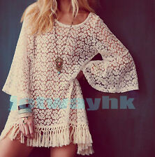 Vintage Hippie Boho Bell Sleves Gypsy Festival Fringe Lace mini Dress Top S M