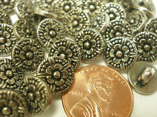 New lot of 12 Electroplated Plastic Dark Silver 3/8 (9mm) in Buttons (#N)