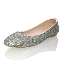 Marc Defang Clear Crystals Luxury Bridal Wedding Ballet Flats