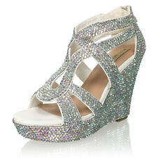 Marc Defang Women's Bridal AB Crystals Wedding Strappy Wedges