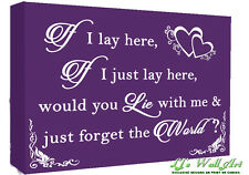 If I Lay Here - Snow Patrol QUOTE Canvas Wall Art Picture Print - Purple