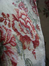 LONG TAPESTRY CURTAINS, THICK & HEAVY WOVEN RED ROSES PERIOD FLORAL CHINTZ GOLD