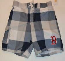 Plaid BOSTON RED SOX BATHING SUIT SWIM TRUNKS SHORTS  Officially Licensed MLB