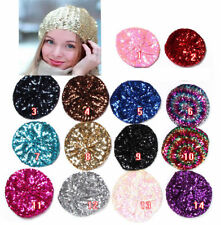 Women Lady Stretch Crochet Shining Sequin Beret Hat Party Beanie Cap Club Dance