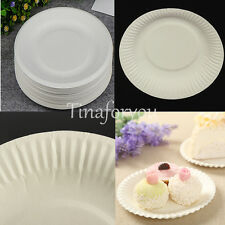 10 - 100X White Paper Plates Catering Wedding BBQ Party Cake Supplies Disposable