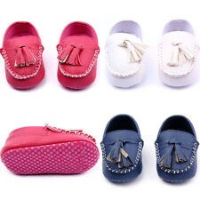 New Baby Toddler Girls Boys Leather Crib Shoes Peas Shoes Soft Sole Size 0-12 M