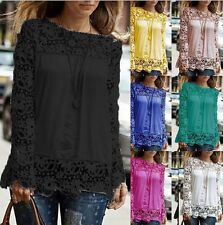 Hpt Lady Sheer Sleeve Embroidery Sexy Lace Crochet Tee Chiffon Shirt Top Blouse