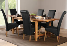 Farmhouse & Richmond Extending Oak Dining Table and 4 6 Chairs Set (Black)