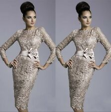 New Stock Champagne Long Sleeve Lace mother of the bride dress Evening Dresses