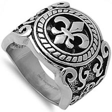 Stainless Steel Fleur de Lis Tribal Tattoo Royal Style Signet NEW Ring Size 8-14
