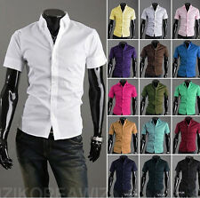 New Mens Stylish Casual Slim fit Shirt Short Sleeve Dress Shirts Tops 16 Color