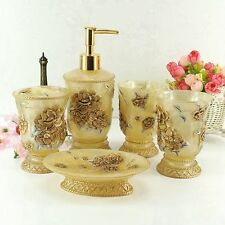 5Pcs Golden Pink 3D Rose Bathroom Accessories Set Bath Resin Wash Cup Toothbrush