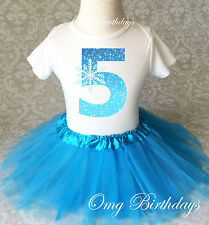 Blue Snowflake Frozen Girl 5th Fifth Birthday Tutu Outfit Shirt Set Party Dress