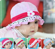2014 NEW BABY GIRL SUN FLOWER POLKA DOT HEARTS COTTON SUMMER HAT CAP 3-24 MONTHS