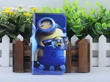 Hot Cartoon Minions Despicable me PU Leather Flip Case Cover For HTC Mobile 01