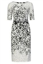 M&S Spotted & Trailing Floral Shift Black and White Dress Size 10-18