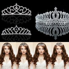 Diamante Crystal Bridal Bridesmaid Wedding Party Crown Headband Tiara Silver