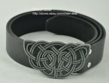 Western Elegant Celtic Knot Tattoo Style Metal Buckle Mens Cowboys Leather Belt