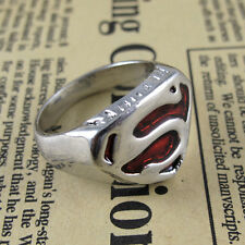 Hot Film Man of Steel Superman Sign Red Fashion Ring Men's Jewelry