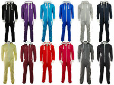 Adult Unisex Onesie Plain Hooded Zip Up Mens Womens Cloth Jumpsuit Playsuit