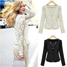 New Fashion Women Lady Tops Slim Short Crocheted Lace Cardigan Jacket Coat Hot