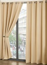 Beige Blackout Thermal Self Lined Eyelet Ring Top Ready Made Curtains