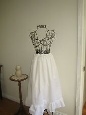 White, Beige or Black Cotton Muslin Petticoat Wide Ruffle Full Length Half Slip