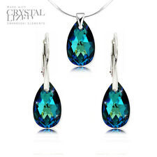 Genuine Swarovski Elements Earrings Pendant Sets - Silver 925-16mm Drops 17COLOR