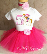 Cowgirl Pink cow girl Horse Girl 5th Fifth Birthday Tutu Outfit Shirt Set Party