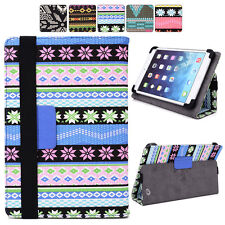 """H Tribal Canvas Adjustable Folding Folio Cover & Touch Guard fits 7"""" Tablet-s"""