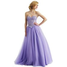 2014 Lace Purple Prom Gown Quinceanera Ball Cocktail Long Lace-up Evening Dress