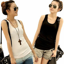 Basic Women Tank Top Racer Back Cami Vest T-Shirt Summer Singlet Camisole Sports