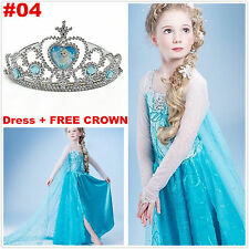 Disney Princess FROZEN  Anna Elsa Queen Girl Cosplay Costume Party Formal Dress