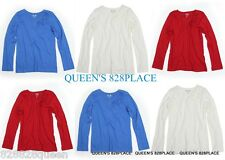 NWT 77KIDS AMERICAN EAGLE GIRLS 10-12-14 RED BLUE T-SHIRT TOP LONG SLEEVE NEW