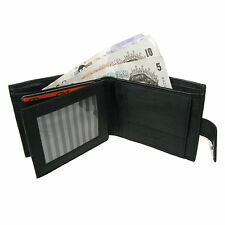 Mens Soft Black Real Leather Credit Card Holder/ID & Coin Section Wallet 340