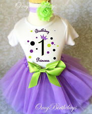 Princess Crown Purple Green Baby Girl 1st First Birthday Tutu Outfit Shirt Set