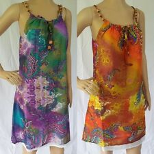 NEW COTTON Dress Boho Earthy Print FULLY LINED Womens Size 12 14