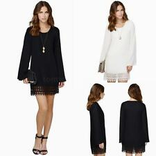 Chic Women's Chiffon Long Sleeves Tunic Shift Bodycon Party Cocktail Mini Dress